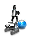3d white person with a huge microscope. 3D Square Man Series. Royalty Free Stock Photo