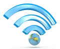 D wi fi signal in the design of the information related to the internet and communication Royalty Free Stock Photography