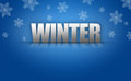 D winter text logo on snowflake background blue pattern Stock Images