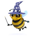 D wizard bee render of a dressed as a magician Royalty Free Stock Image