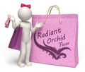 D woman with giant radiant orchid shopping bag rendered lady lilac purple bags and fever text Stock Photography