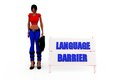 D woman language barrier concept with white background front angle view Stock Photography