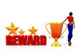 D woman reward concept with white background front angle view Royalty Free Stock Photography