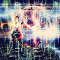 D woman shooting abstract futuristic background with a in black Stock Photography