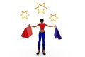D woman shopping star concept with white background front angle view Royalty Free Stock Photos