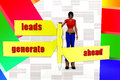 D women leads generate ahaed illustration concept on colorful background front angle view Royalty Free Stock Image