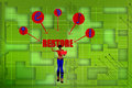 D women web restore illustration on colorful background front angle view Royalty Free Stock Photo