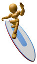 3D Wood Doll Mascot to play a surfboard Royalty Free Stock Photo
