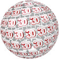 D word on ball sphere three dimensional effect the tiles in a round to illustrate special effects in a move television program or Stock Photo