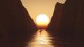 3D yacht sailing towards a sunset sky