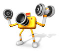 D yellow camera character a dumbbell curl exercise create d c robot series Royalty Free Stock Photography