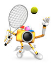 D yellow camera character is a powerful tennis game play exerci exercises create robot series Royalty Free Stock Photo