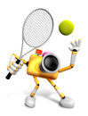 D yellow camera character is a powerful tennis game play exerci exercises create robot series Royalty Free Stock Photos