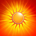 D yellow sun with glowing orange rays abstract summer background and Royalty Free Stock Images