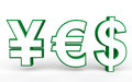D yen euro and dollar symbols making yes render of word Royalty Free Stock Photo