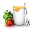 D yoghurt with a strawberry white background image Royalty Free Stock Photos