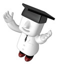 3d young doctors standing with his hand up. 3D Square Man Series Royalty Free Stock Photo
