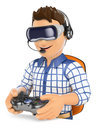 3D Young gamer playing with virtual reality glasses. VR