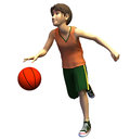 D young male basketball player in american cartoon style Royalty Free Stock Image