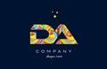 da d a colorful alphabet letter logo icon template vector