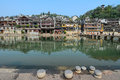 Da giang river and old town of phoenix fenghuang ancient town view the the popular tourist attraction which is located in county Stock Images