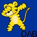Dab dabbing pose tiger kid cartoon