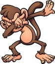 Dabbing brown cartoon monkey