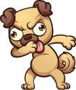 Dabbing cartoon pug dog