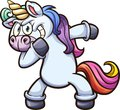 Dabbing cartoon unicorn