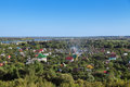 Dacha near moscow russia region a top view of the holiday villages the river Stock Image