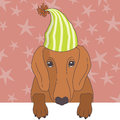 Dachshund in cap illustration of Royalty Free Stock Photos