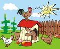 Dachshund hens and rooster in a small hut two humorous illustration for children Stock Photos