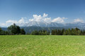 Dachstein in austria with blue sky and clouds Stock Photo