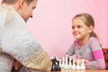 Dad and daughter happily look at each other Royalty Free Stock Photo