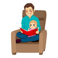 Dad and daughter reading a tale to his little teaching her read lessons Stock Photography