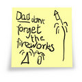 Dad. Don't forget the fireworks. Stock Images