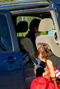 Dad drops daughter off at cheerleader practice during errands Stock Photo