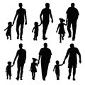 Dad and kid group silhouettes dads children Royalty Free Stock Photography