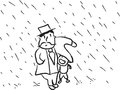 Dad and son father in the raining cartoon for father day Royalty Free Stock Images
