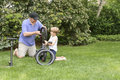 Dad and Son fixing a bike Royalty Free Stock Photo