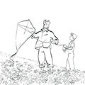 Dad and son flying a kite