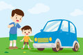 Dad and son look at car Royalty Free Stock Photo