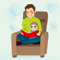 Dad and son reading a tale to his little teaching him read lessons Royalty Free Stock Photos