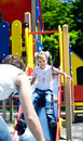 Daddy with  daughter in park. Happy family. Royalty Free Stock Photo