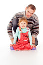 Daddy hugged the little girl, sit Royalty Free Stock Photo