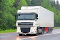 Daf xf tver region russia may white semi trailer truck at the interurban road Royalty Free Stock Photo