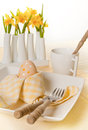 Daffodils on Easter table Royalty Free Stock Photography