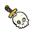 Dagger in skull cartoon Stock Image