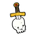 Dagger in skull cartoon Royalty Free Stock Photo