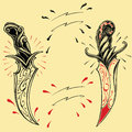 Daggers oldskool tattoo style design set vector for use Stock Images
